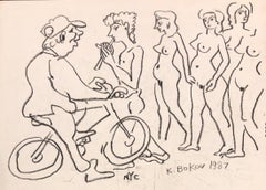 """Man On Bicycle & Nude Woman"""