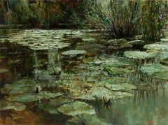 "Oleg Trofimov. ""Lilies"" Original oil on canvas. Impressionist painting."