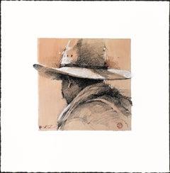 "Original Western Pencil Drawing on Paper, Plexiglass, Framed ""Ranch Keeper"""