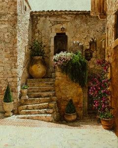 "Oleg Trofimov. ""Italian Courtyard"". Tuscan, Impressionist Original Painting."