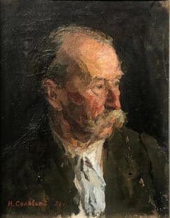 """Old Man Portrait"", 1951 Russian Impressionism, Soviet Realism, Portrait, Oil"