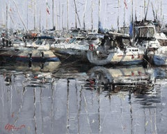 "Oleg Trofimov. ""On the Marina"". Russian Impressionist boat themed Oil Painting."