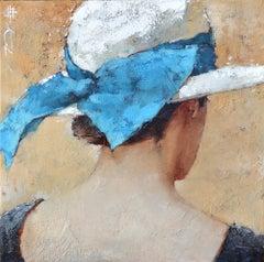 "Andre Kohn. ""Le Ruban Bleu"" Original Vintage Inspired Impressionist Oil Painting"