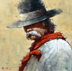 "Andre Kohn. ""The Ranch Keeper"" Cowboy Original Oil Painting. Impressionist."