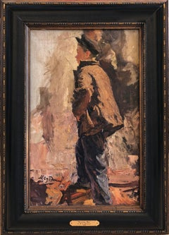 """Factory Boy"" 1949 Russian Impressionism. Soviet Realism. Figurative. Oil."
