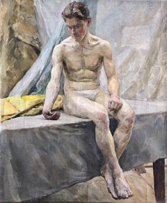 """Young Man with a Mirror"" 1949 Soviet Realism Original Portrait, Oil"