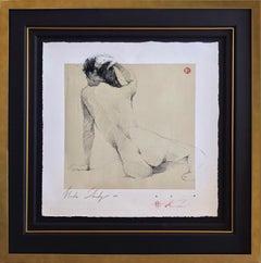 "Andre Kohn. ""Nude Study"" Original Figurative Nude Drawing."