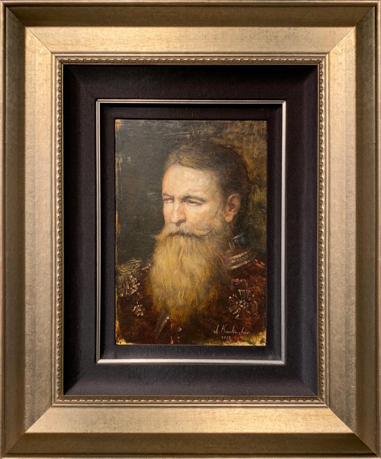 Original Portrait Oil Painting by a master Russian Impressionist, Andrey Kartashov. It is framed with a hand stretched silk liner with gold fillet detail, inside a gold molding. Reminiscent of the old world style by a classically trained and