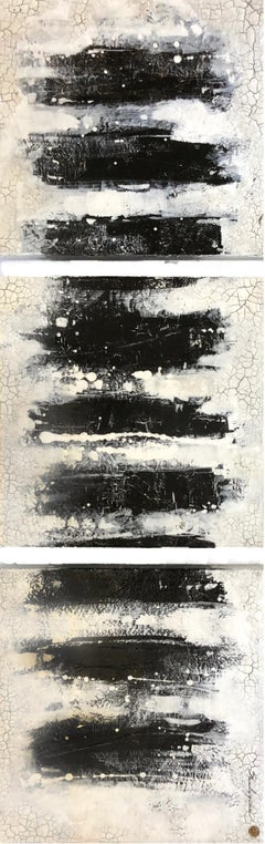 "Svetlana Shalygina. ""Always & Never, series #8"" Black/White Abstract Triptych"