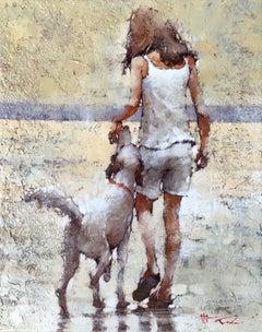 "Andre Kohn. ""Morning on the Beach"" Modern Impressionist Figurative Oil Painting"