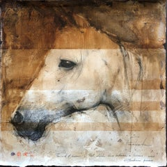 "Andre Kohn. ""Facciata"" Original Mixed media drawing featuring Arabian Horse."
