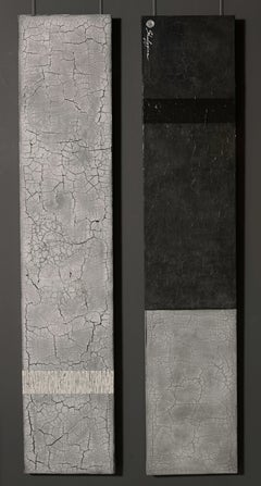 "Svetlana Shalygina.""Always & Never"" Contemporary Black & White Textural Diptych."