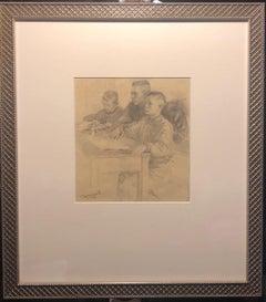 1948 Rare Drawing Russian Soviet Era Untitled by Stanisolv Romanov Framed