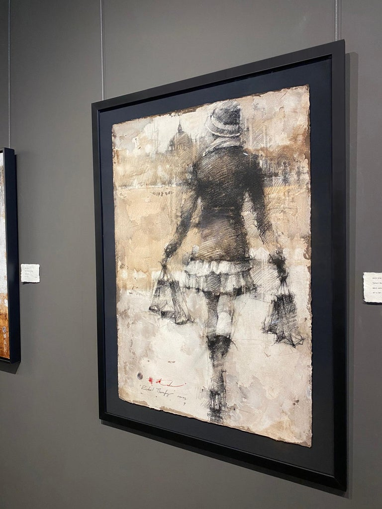 Original Pencil Charcoal Drawing Woman w/Shopping Bags Figurative Framed 47x35 For Sale 2