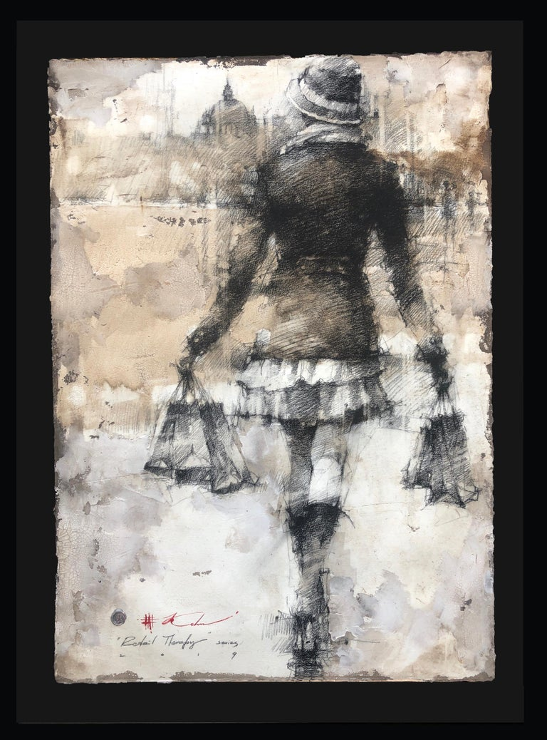 Original Pencil Charcoal Drawing Woman w/Shopping Bags Figurative Framed 47x35 - Expressionist Art by Andre Kohn