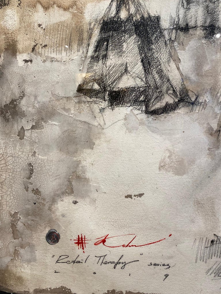A newly developed style by master draftsman & figurative artist, Andre Kohn, combining his detailed charcoal drawing with unique, layered texture built up on fine Italian watercolor paper. Mounted on a hand stretched silk liner, inside a thin black