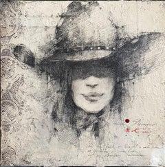 "Andre Kohn. ""Stranger"" Original textured charcoal drawing, western contemporary"