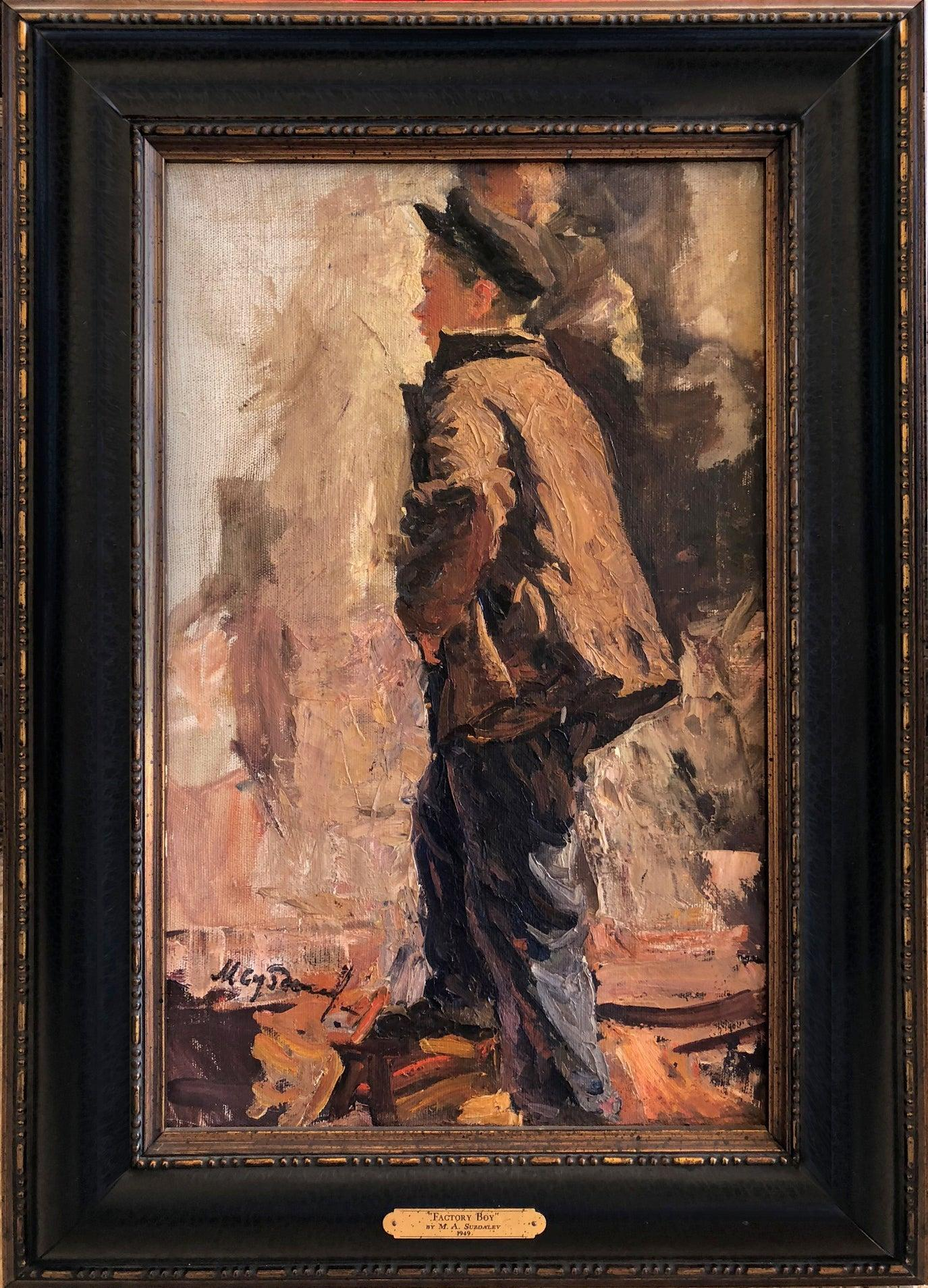 "1949 Original Oil Figurative Russian Impressionism Soviet Realism ""Factory Boy"""