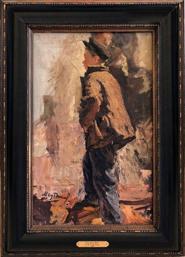 "M. Suzdalev Portrait Painting - 1949 Original Oil Figurative Russian Impressionism Soviet Realism ""Factory Boy"""