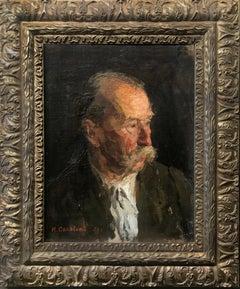 "1951 Rare Russian Impressionism Soviet Realism Original Portrait Oil ""Old Man"""
