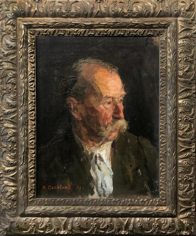 "H. Solovyev  Figurative Painting - 1951 Rare Russian Impressionism Soviet Realism Original Portrait Oil ""Old Man"""