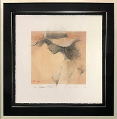 Original Drawing Charcoal Pencil Paper Nude Woman Portrait Beach Hat Framed