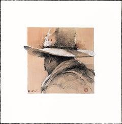 Original Western Pencil Drawing Cowboy on Paper Plexiglass Framed