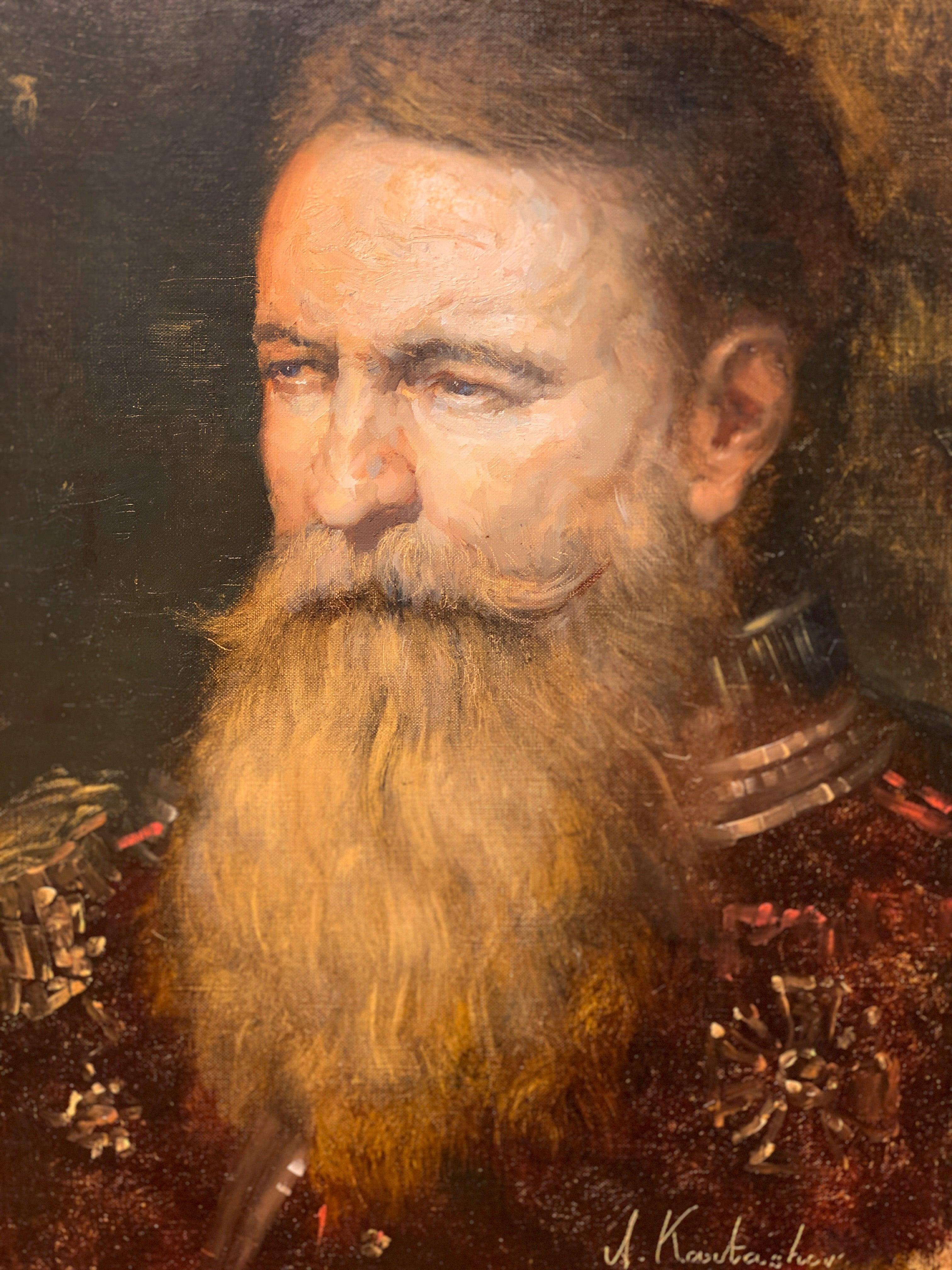 """Original Oil on Canvas Portrait Man Face Old Admiral Painting Framed 32""""x27"""""""
