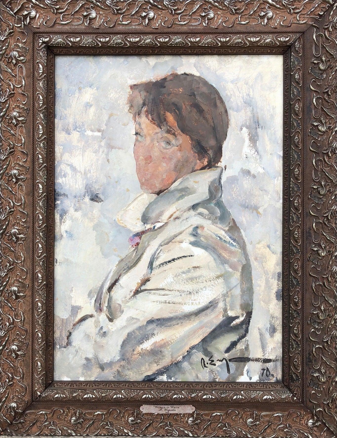 Original Oil Painting Portrait Woman in White Soviet Era Realism 1970 Framed