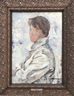 Original Oil Painting Portrait Woman in White Soviet Era Realism 1970 Framed