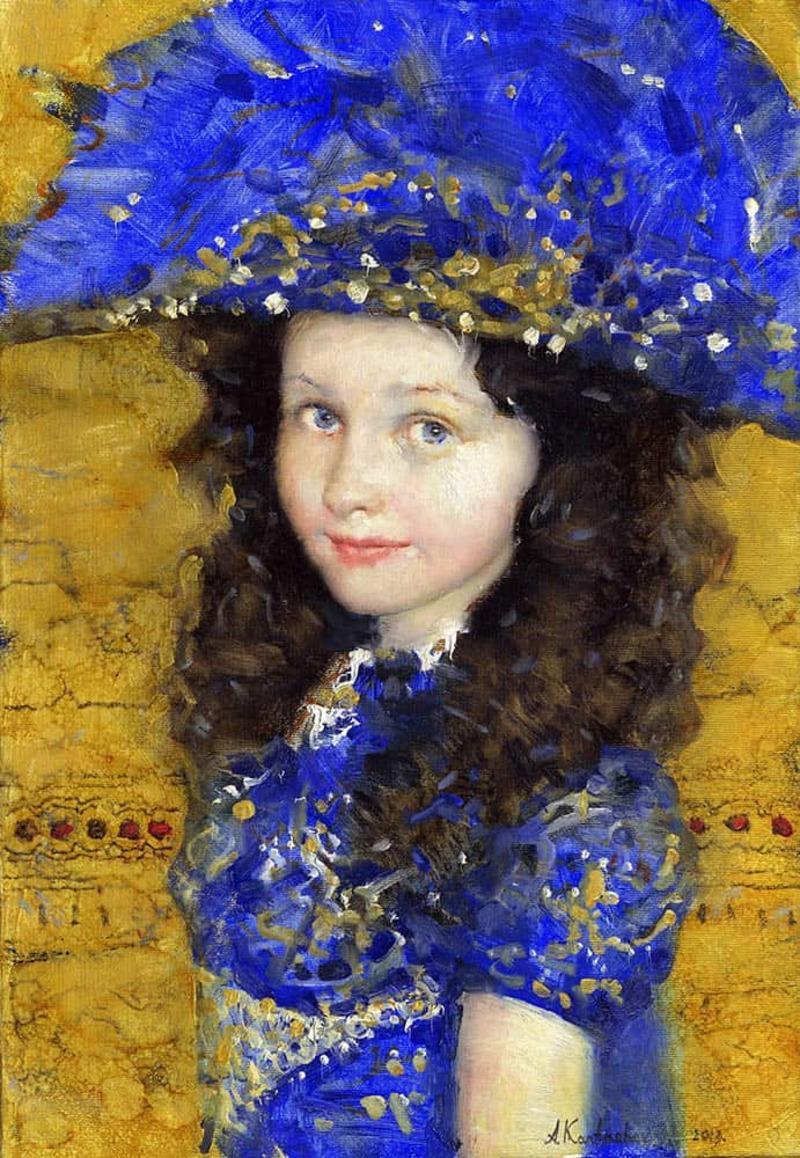 Original Oil Painting Figurative Portrait Young Girl Blue Dress Hat Framed 29X23