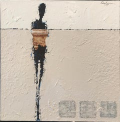 "Svetlana Shalygina. ""Le Vent"". Figurative mixed media on canvas w/floater frame."