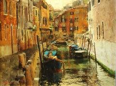 "Oleg Trofimov. ""Summer in Venice"". Impressionist Original oil painting of Venice"