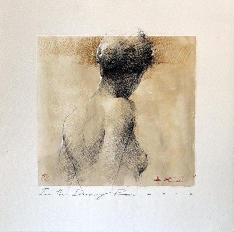 "Andre Kohn  Figurative Art - Andre Kohn. ""In the Dressing Room"" Charcoal pencil original nude framed drawing."