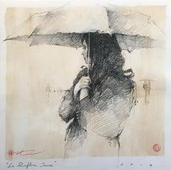 "Andre Kohn ""Le Parapluie Jaune"" Original ""Yellow Umbrella"" French style drawing."