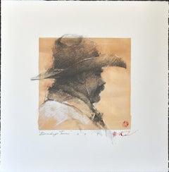 "Original Western Pencil Drawing on Paper, Plexiglass, Framed ""Brandin' Team"""