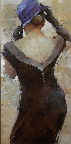 "Andre Kohn. ""The Cocktail Dress, series #48"". Vintage inspired Oil painting."