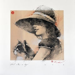 Figurative Original Pencil Drawing of a Girl with a Dog Framed by Andre Kohn
