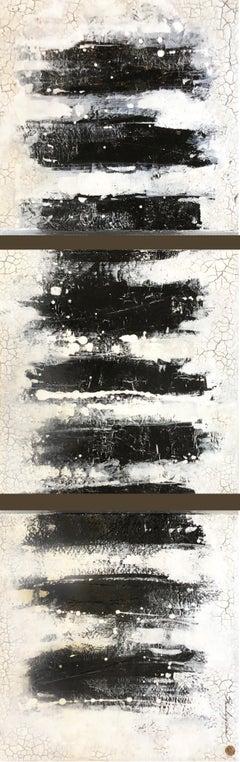 "Svetlana Shalygina. ""Always & Never, series #8"" Black/White Abstract Triptych"