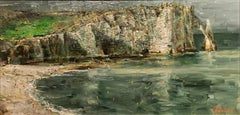 "Oleg Trofimov. ""Etretat"" Original Impressionist French Landscape Oil Painting."