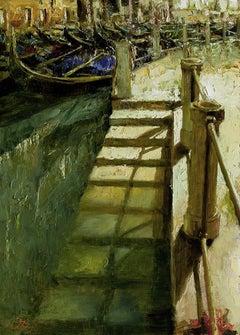 "Oleg Trofimov. ""Venetian Staircase"" Original Venice Impressionist Oil Painting."