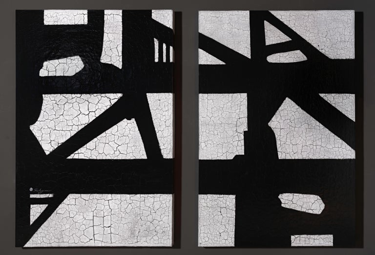 """Always & Never"" is a one-of-a-kind expressive, contemporary black & white abstract painting by Svetlana Shalygina. A textural diptych made up of two 48"" x 72"" gallery wrapped canvases.   Svetlana's distinctive  paintings must be seen ""in the flesh"""