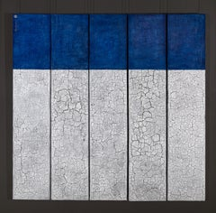 Svetlana Shalygina. Blue & White/Grey Crackle. Textural Original Abstract Work.