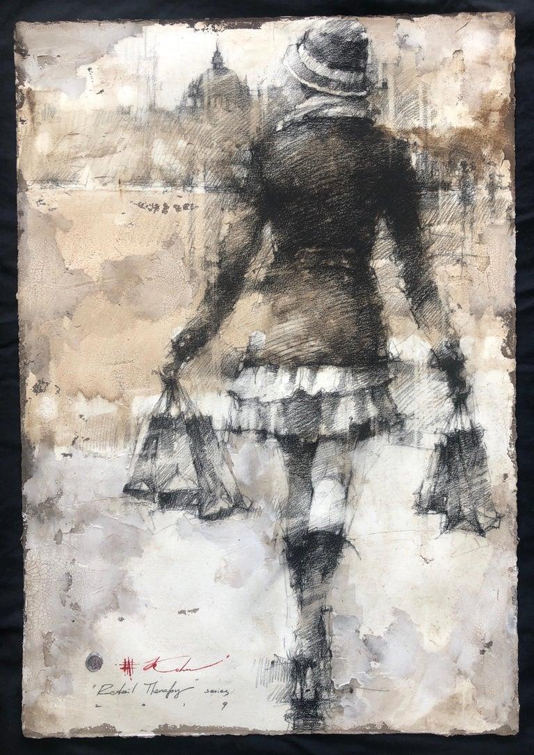 Original Pencil Charcoal Drawing Woman w/Shopping Bags Figurative Framed 47x35 - Art by Andre Kohn