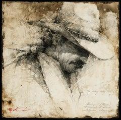 """Harvey"" Original Western Mixed media textured charcoal drawing by Andre Kohn"