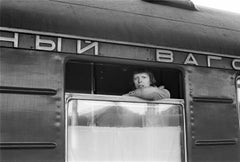 David Bowie, looking out of window of Trans Siberian Express, 1973