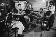 The Band in the basement of Rick Danko's Zena Rd. Home, Woodstock, 1969.