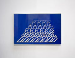 """Kinetic Modern Abstract Painting - Blue Geometric Paper Collage - """"Trapèze"""""""