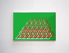 """Kinetic Modern Abstract Painting - Green Geometric Paper Collage - """"Trapèze"""""""