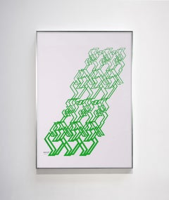 """Kinetic Modern Abstract Painting - Green Geometric Paper Collage - """"Graphisme"""""""
